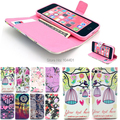 Flower floral design flip cover case for iPhone 5C with Card Holder Leather Eiffel Tower Stand Wallet bag AB0625