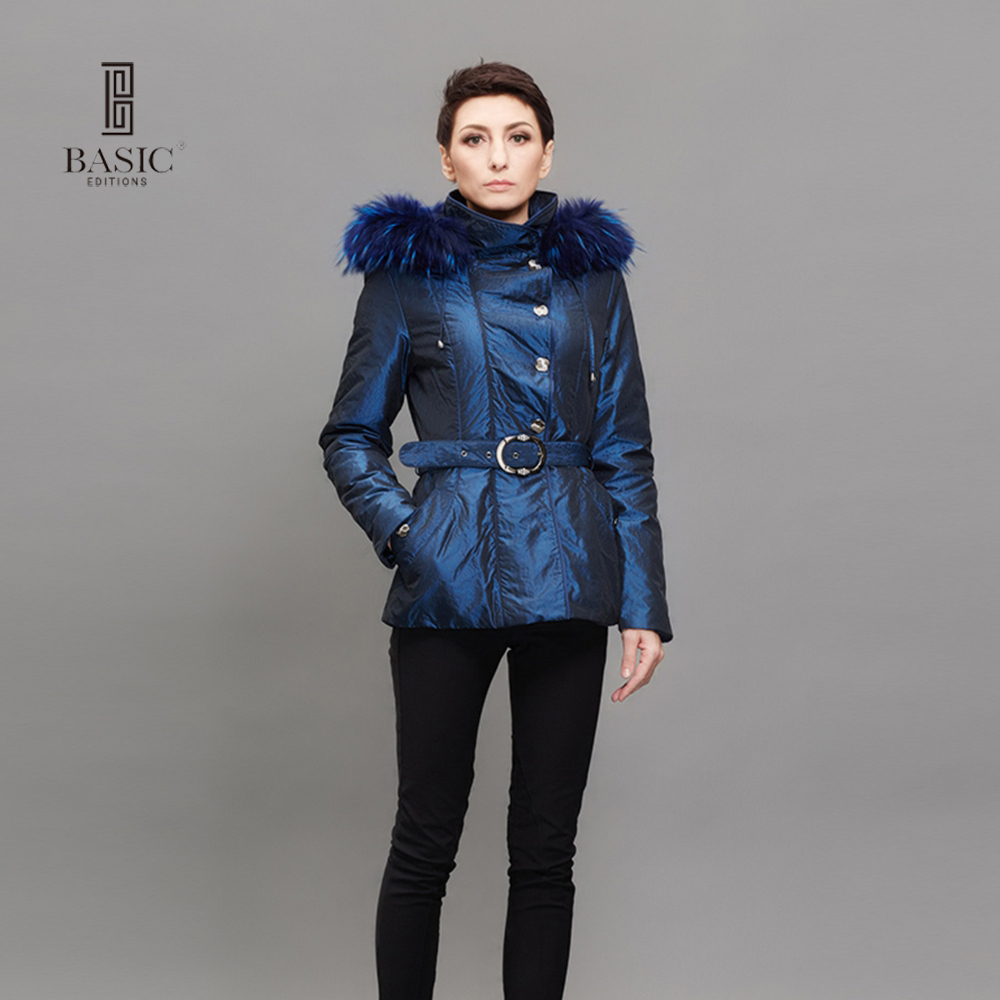 BASIC EDITIONS Women Winter Short Cotton Coat Raccoon Fur Hooded Cotton Warm Slim Blue Jackets and Coats - M0907A туфли basic editions туфли