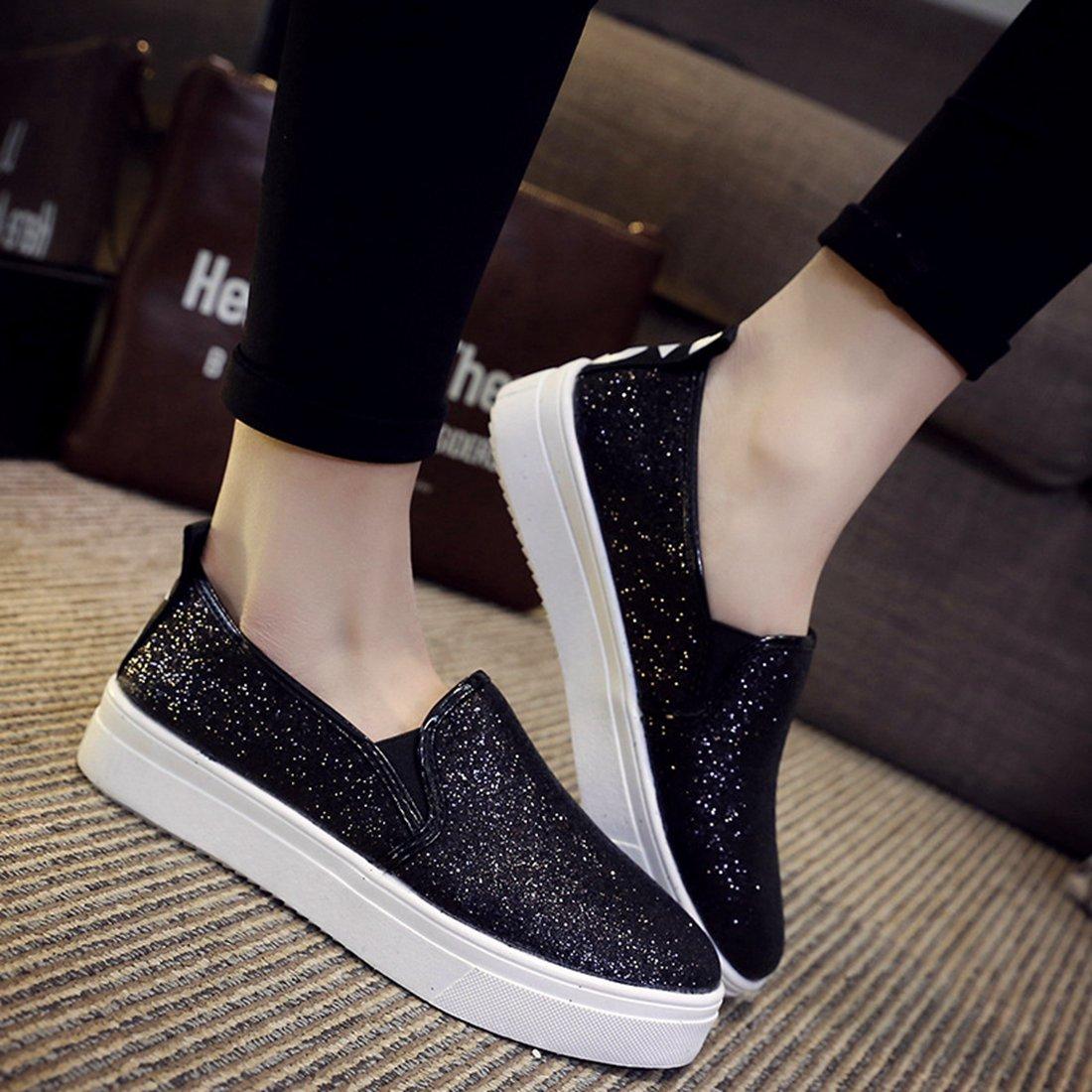 Zapatos de moda Las Mujeres Zapatos Mocasines Pisos Glitter Sequines Nuevos Zapa