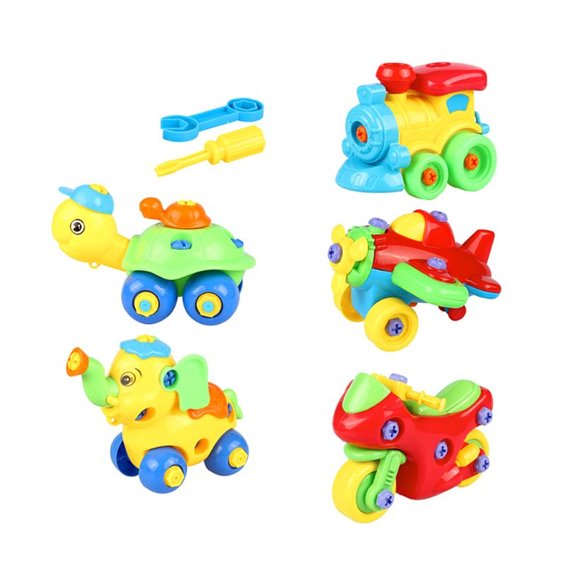 Early Learning Education DIY Cartoon Model Assemble 3D Puzzle Disassembly Motorcycle Cars Jigsaw Kids Toys Children Gift