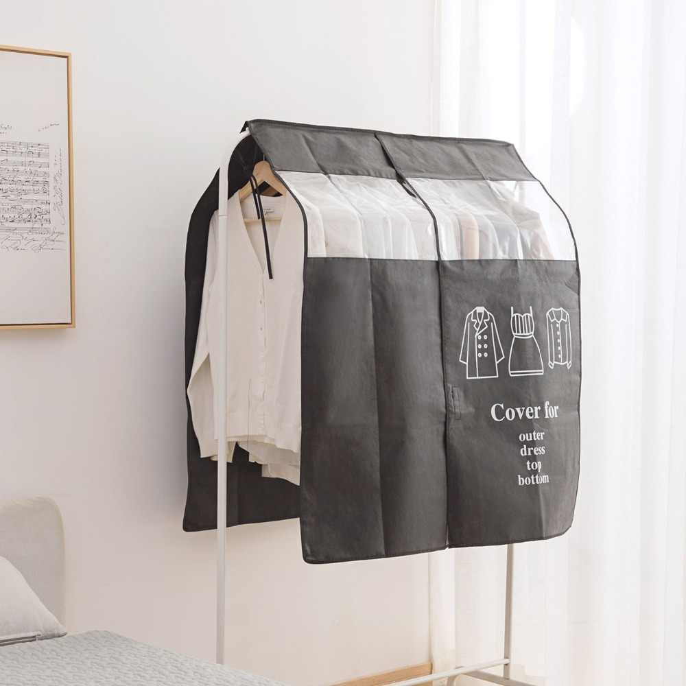 1 stücke Kleiderschrank Kleidung Staub Abdeckung vlies Kleidung Hanging Garment Tasche Für Kleidung Lagerung Hängen Anzug Staub Jacke abdeckung