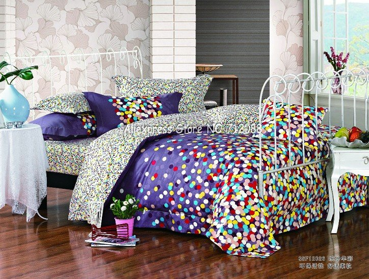 brand new colorful polka dots pattern purple background queen ... : colorful quilt sets - Adamdwight.com