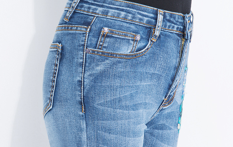 KSTUN FERZIGE 2020 Women Jeans Fashion Flares Denim Pants Embroidery Floral Light Blue High Waist Stretch Sexy Ladies Large Size Mujer 19