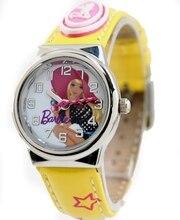 Muñeca de la historieta Impresión Dial Nueva Banda Amarilla de Impresión Estrella B a r b i e Band PNP Plata Brillante caja de Reloj Reloj de Los Niños KW060C