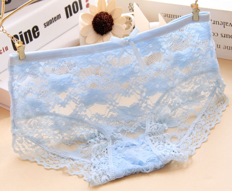 Bow Cute girls lace panties jacquard nets transparent lace women's underwear Elastic waist Modal kids briefs wholesale 10-20Y elastic string bulge pouch sheer briefs