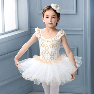 Image 1 - White Swan Lake Ballet Costume Short Sleeve Ballerina Clothes Children Kids Tutu Ballet Dress Lace Ballet Dancewear For Girls
