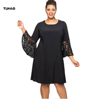 TUHAO Women Elegant Black Red Dresses Plu Size 5XL 4XL Female Office Lady Work Dress Flare Lace Sleeve Autumn Winter Dresses DLM