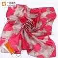 Moda twilly pequeno lenço de seda quadrado para as mulheres meninas bandana foulard soie arte floral pintura lenço de pescoço elegante 52*52 cm