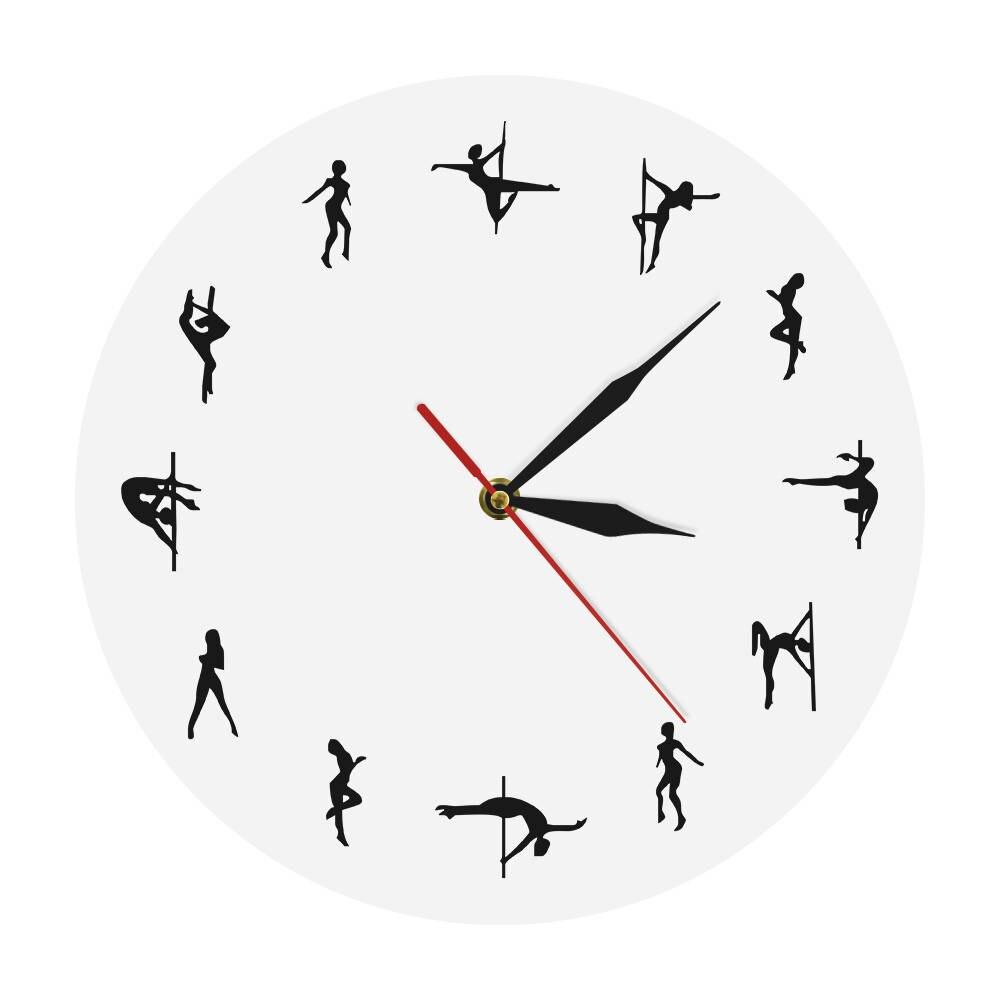 1Piece Pole Dance Wall Clock Pole Dancing Modern Silent Movement Clock Dancer Gift For Her Steal Tube Dancing Wall Art Decor