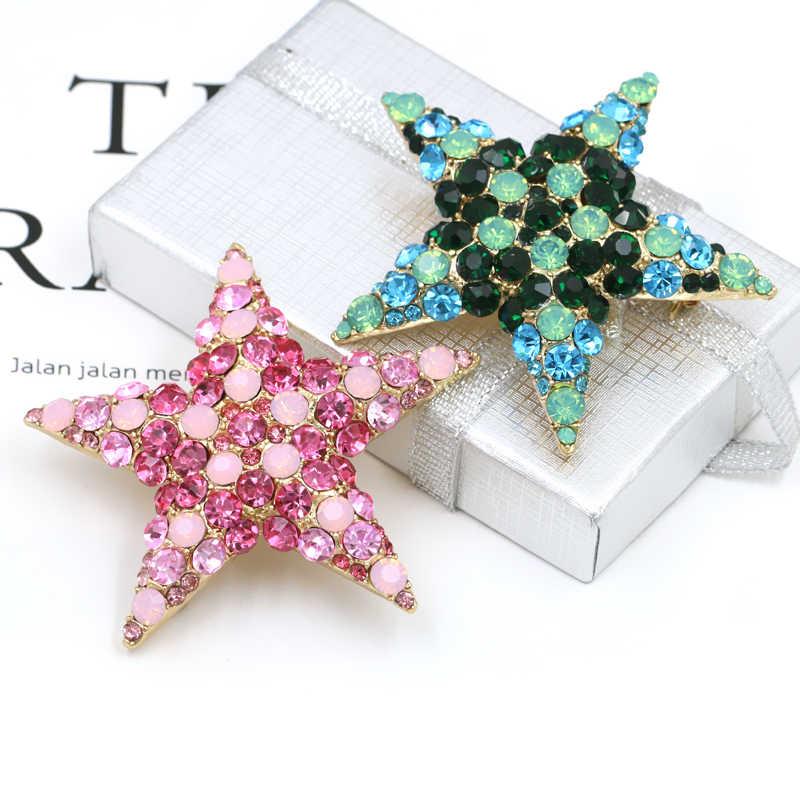 Kualitas Tinggi Gaya Trendi Kristal Berlian Imitasi Bentuk Bintang Bros Pin untuk Wanita Dalam Warna Pink dan Biru Warna