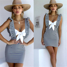 Plaid Formal Bib Skirts Womens Summer Casual Ruffles Bodycon Party Suspender Pencil Skirt(China)