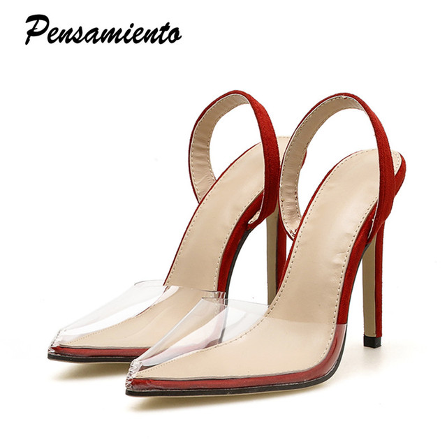 4f3cc0e3bdd New 2018 Women pumps Sexy transparent Slingbacks Thin high heels female  Summer shoes sandals Elegant Wedding party shoes woman