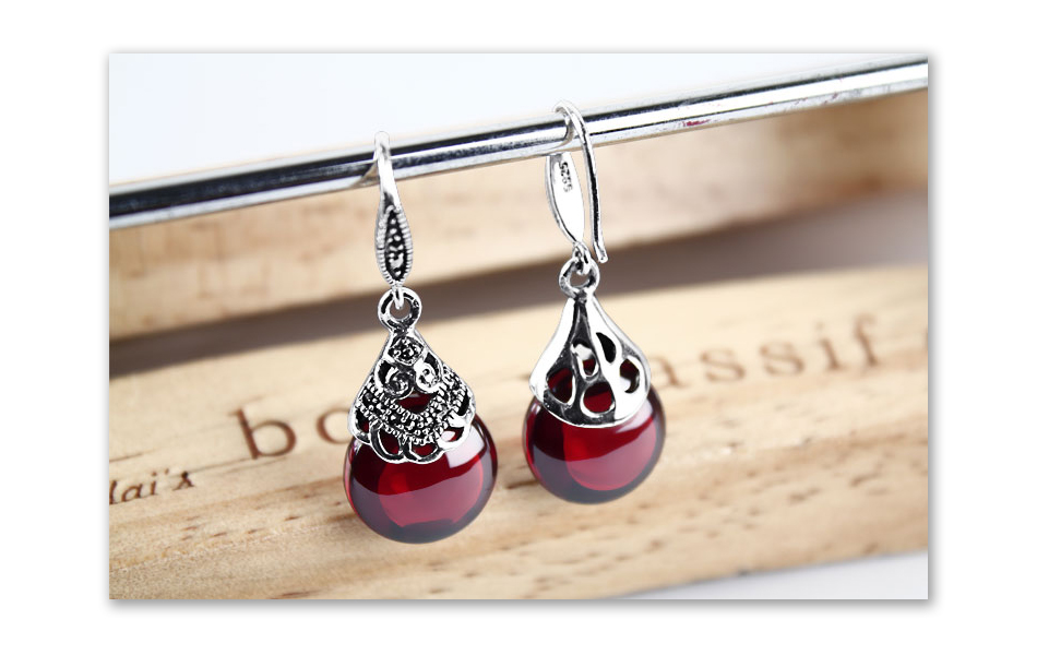 HTB1NuQrfXHM8KJjSZFwq6AibXXaI - JIASHUNTAI Retro 100% 925 Sterling Silver Round Garnet Drop Earrings For Women Natural Red Gemstone Ruby Fine Jewelry Best Gifts