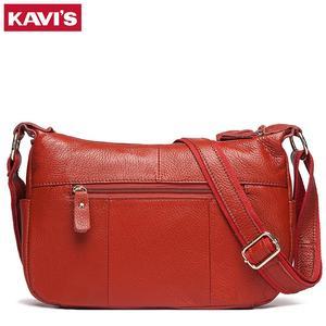 Image 2 - KAVIS 100% genuine leather women shoulder bag female high quality messenger handbag lady designer high qualiity Brand crossbody
