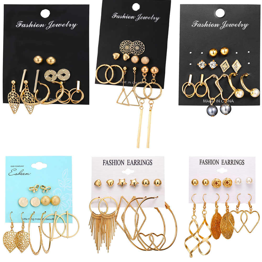 IF YOU Fashion Geometric Stud Earring Set For Women Oversize Round 2019 New Vintage Gold Color Metal Earrings Brincos Jewelry