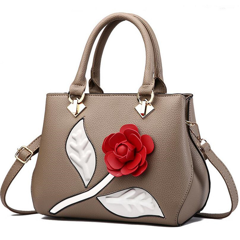 BARHEE Women Hand Bags 3D Flower Decorate Women Tote Handbags PU Leather Pochette Middle Size Messenger Shoulder Bag for Ladies