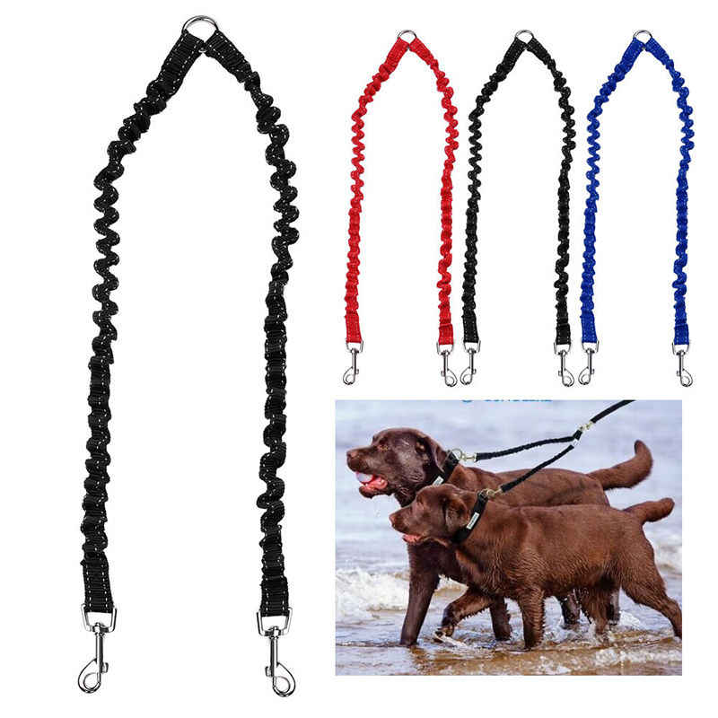 Pet Double Head Lead Leash Traction Rope For Two Dogs Puppy Walking Splitter