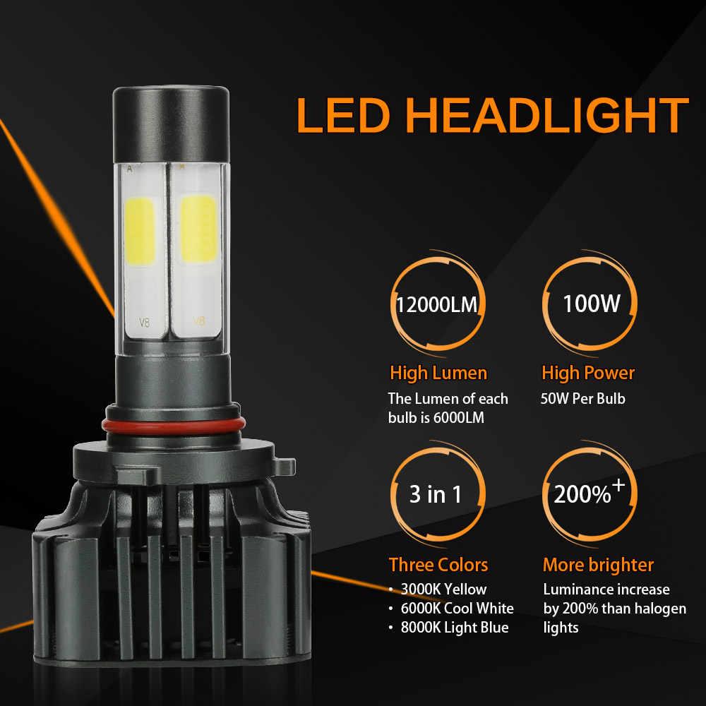 Zdatt COB HB4 9006 Led Bulb 12V Car Headlight Bulb 12000Lm 100W Auto Headlamp 3000K 6000K 8000K Auto Light Lamp Conversion Kit