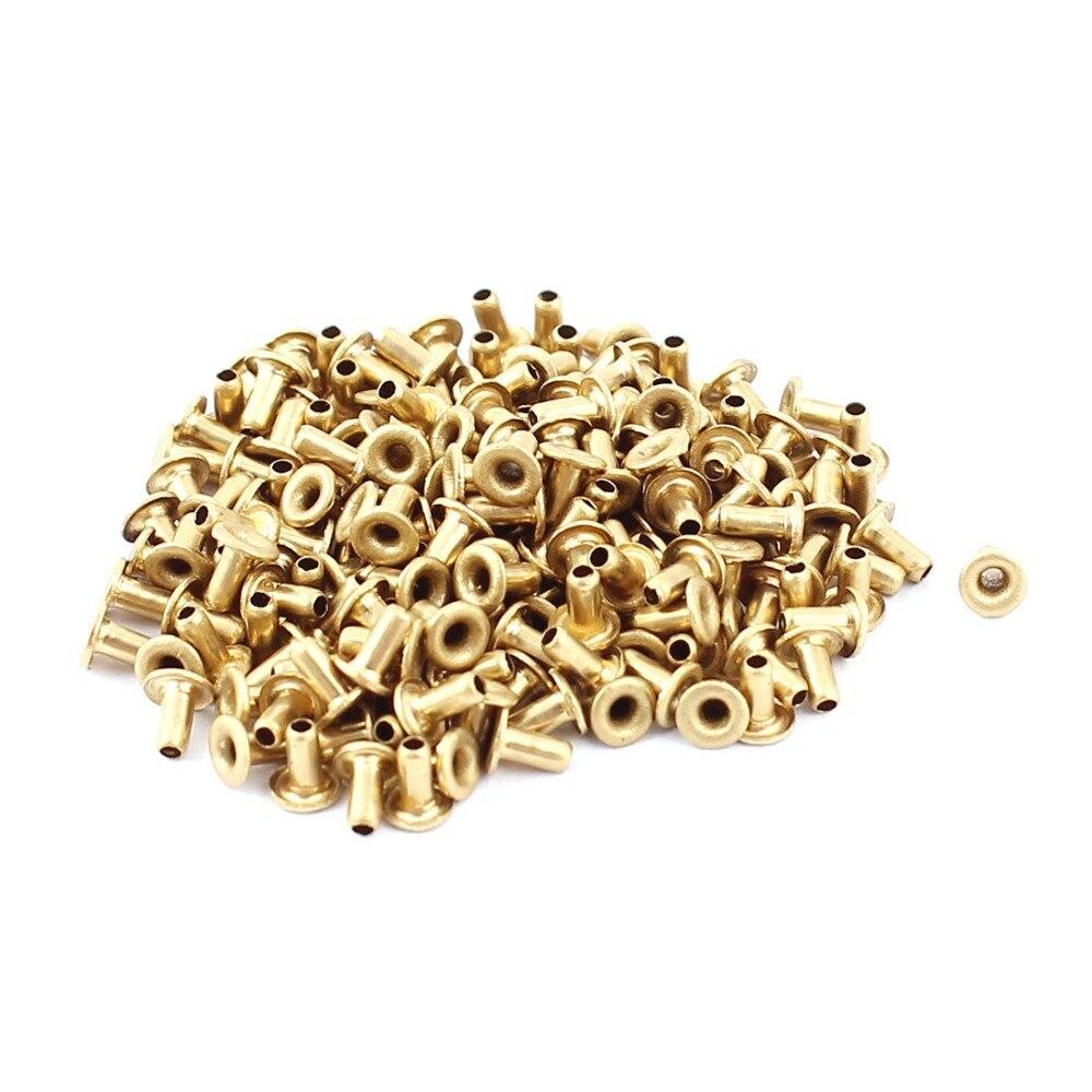 200 unidades/pacote m1.5 x 3mm cobre via vias banhado tubular através do furo rebites oco grommets placa de circuito pcb tom de ouro