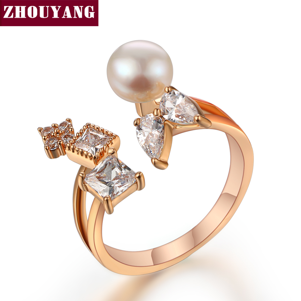 ZHOUYANG 2016 Imitation Pearls Cubic Zirconia Rose Gold Color Fashion Resizable Ring Jewelry For Women Party ZYR350-4 ZYR350-5