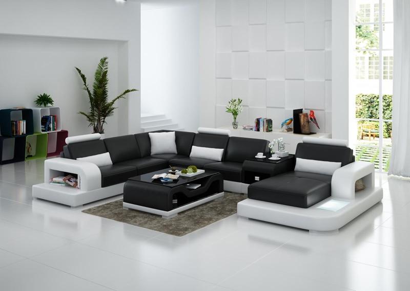 Black U-shape Living Room Furniture Sectional Sofa Set G8007 Fancy Colours Living Room Furniture Home Furniture