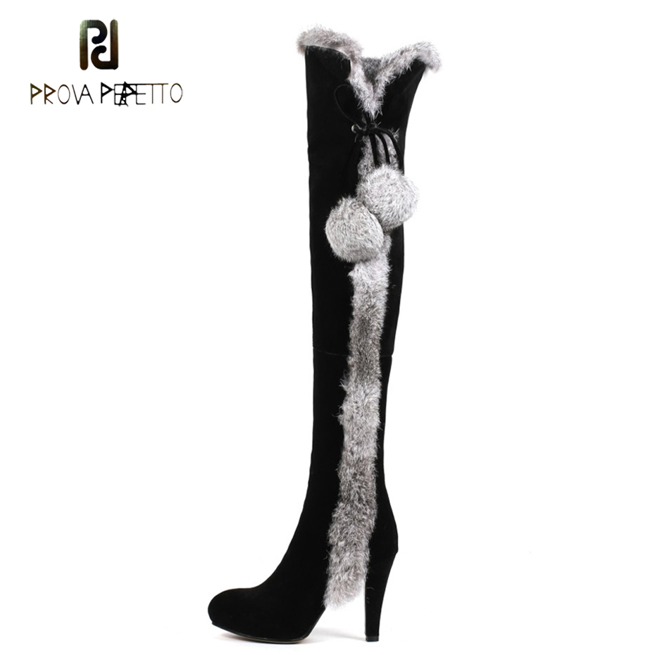 Prova Perfetto real rabbit fur ball decor women knee high boots sexy pointed toe high heel warm plush winter snow boots mujer все цены