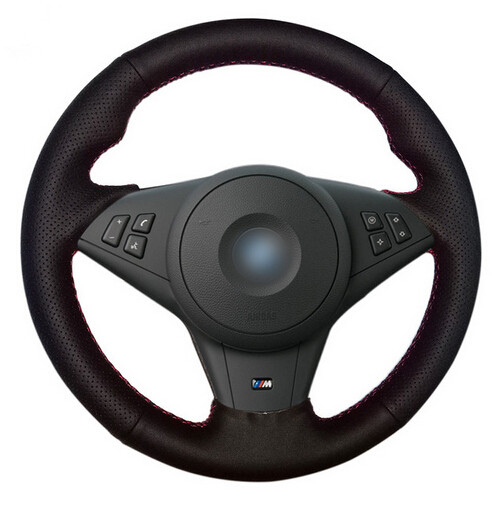 Black Artificial Leather Car Steering Wheel Cover for BMW E60 E63 E64 M5 2005 2007 2008 M6 2007