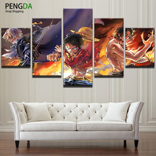 Canvas Painting Modern Wall Art Decor Framed Pictures Drop Shipping 5 Panel Animated Cartoon ONE PIECE Comics Oil Poster PENGDA