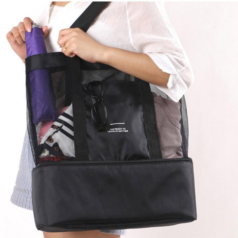 Women Mesh Transparent Bag Double-layer Heat Preservation Large Picnic Beach Bags WF 668