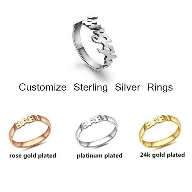 373f4c001 Monograma personalizar 925 nombre de la plata esterlina anillos 24 k oro  plateado letras anillos de