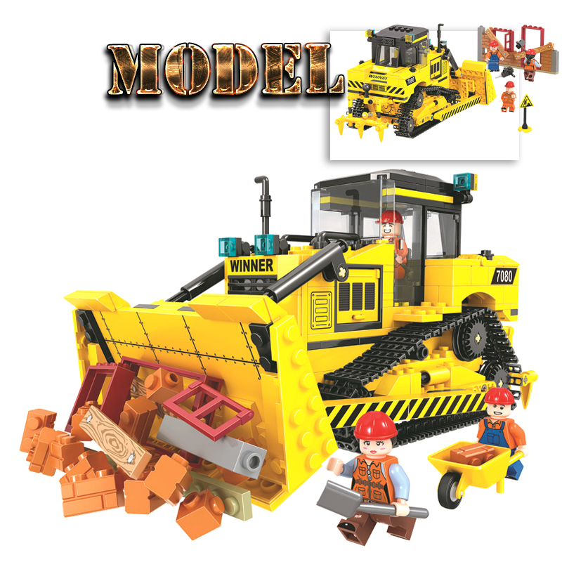 Finger Rock Engineering Vehicle Blocks Bricks Toys 624PCS Bulldozer Model Building Blocks DIY Assemble Blocks Toys For Boy 196pcs building blocks urban engineering team excavator modeling design