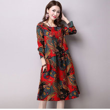 HIGH QUALITY Fashion 2016 Runway Dress Women's O Collar Vintage Floral Loose Dress Plus Size S-XXL for lady