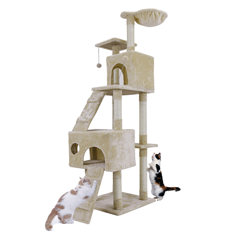 Domestic Delivery Cat Toy House Bed Hanging Balls Tree Kitten Furniture Scratchers Solid Wood For Cats Climbing Frame Cat Condos #5