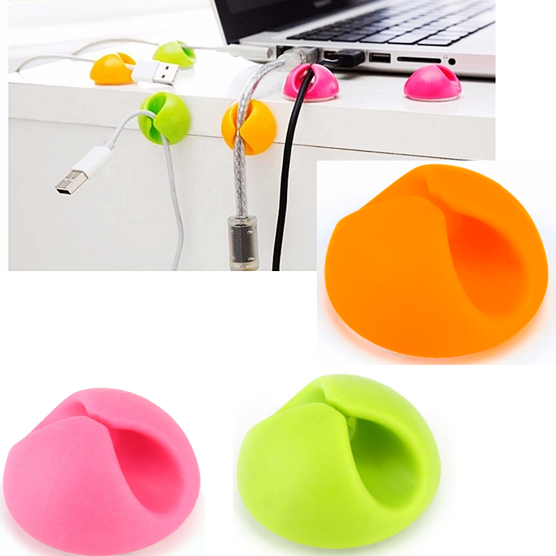 6Pcs/lot Cable Clips Cable Wire Organizer Cable Cord Holder Management System Wire Earphone Winder Random Color