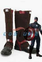 Avengers: Age of Ultron Captain America Steve Rogers PU Brown Halloween Cosplay Boots Shoes For Adult Men US Euro Size