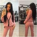 Mulheres Sportwear Treino Outono Hoodies Manga Longa Com Zíper Camisola E Calças 2 Peça Conjunto Sportwear Trajes Terno de Trilha