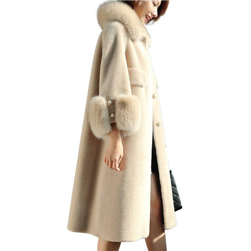 white Vintage Laine Veste Automne Manteau 100 Véritable De Beige En D'hiver Fourrure Mouton Pour Zt982 Femmes Vêtements 2019 Coréenne Renard Col gray wYIq1xa
