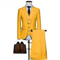 Fashion classic men's suit yellow lapel single breasted men's business office suite and groomsmen dress (jacket + pants + vest)