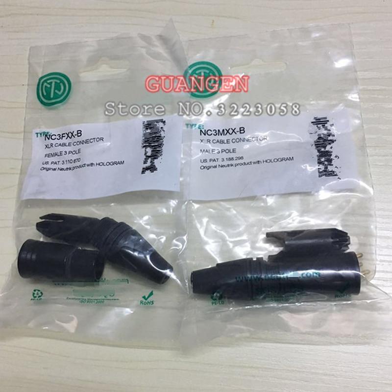 20Pcs/lot 10PCS NC3MXX & 10PCS NC3FXX For NEUTRIK Male And Female A Set 3 Pin XLR Connector Withe High Quality