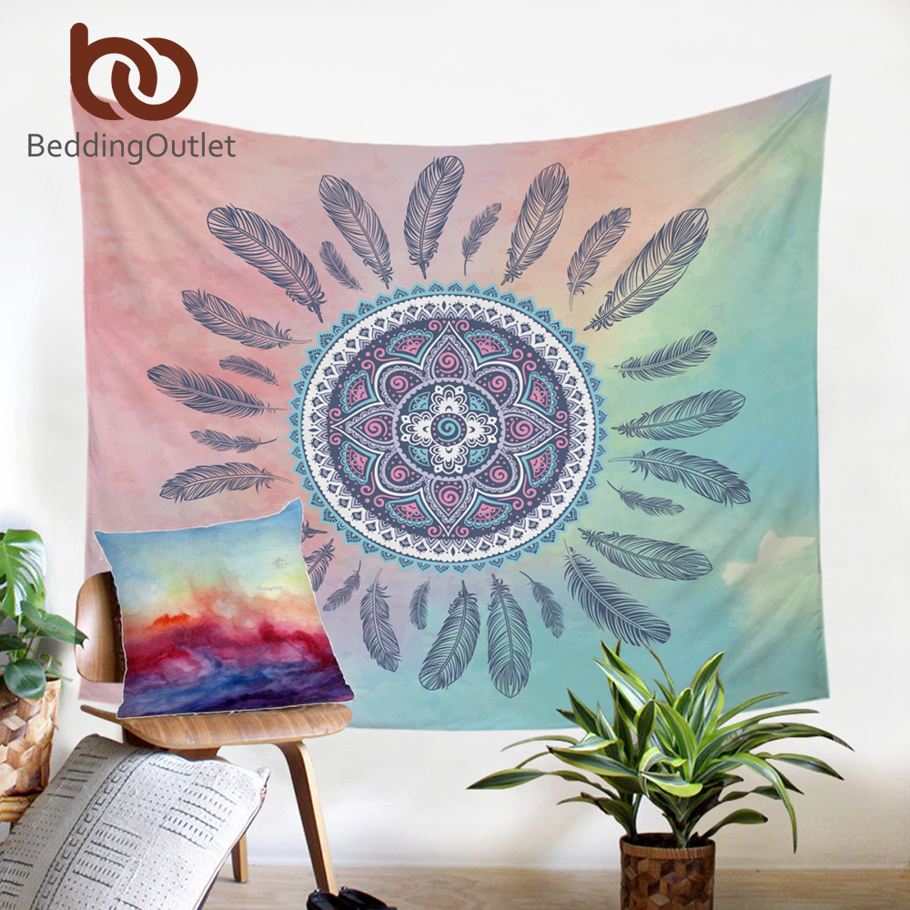 BeddingOutlet Dreamcatcher Tapestry Boho Printed Flat Sheet Pink and Green Wall Hanging Home Decor Microfiber Wall Tapestries