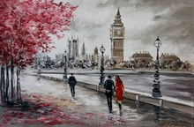 Handmade High-quality Modern Wall Art Streetscape Palette Knife Oil Painting On Canvas Handicraft Black and White Style Decor