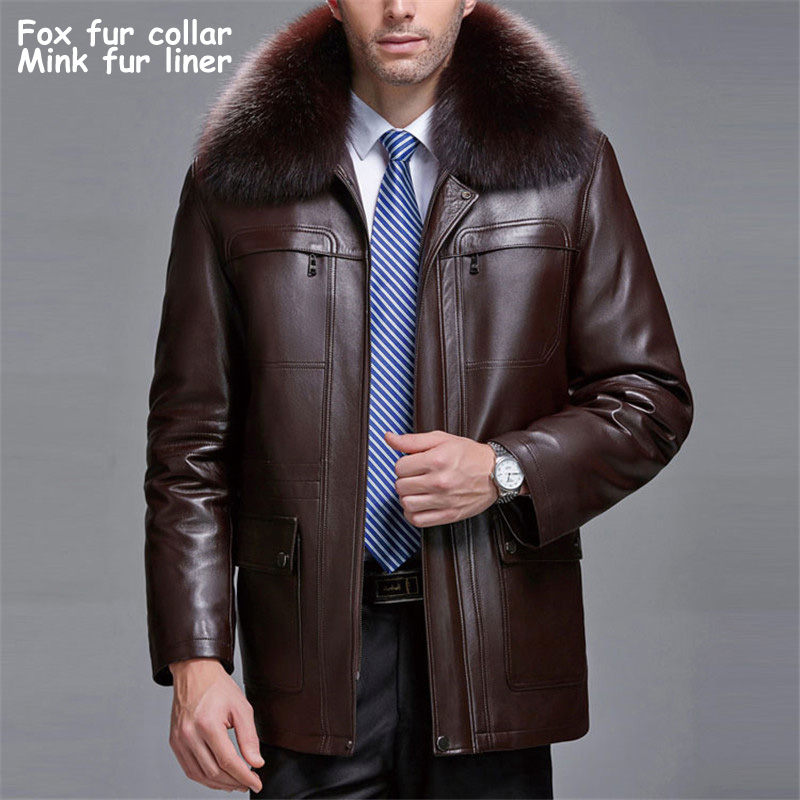 c2b78e807 Real fox fur collar detachable natural golden mink fur liner winter jackets  men faux leather coats outerwear 2018 new autumn-in Jackets from Men's  Clothing ...