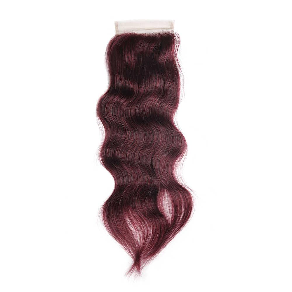 Натуральные волнистые человеческие волосы комплект s с закрытием 4*4 kemy Hair 99J/бордовый красный цвет бразильские косички комплект не реми волосы