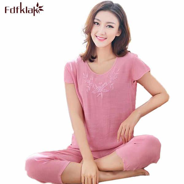 e57fab4ddf XL XXL 3XL Summer New Women Pyjamas Plus Size Sleepwear Set Short Sleeve  Pajamas For Women