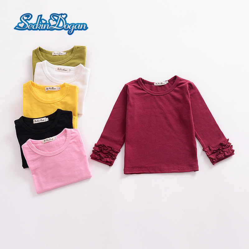SeckinDogan Baby Girl Tops 100%Cotton Autumn Ruffled Baby Girl T-shirt Solid Colour Long Sleeve Child TShirt Long Sleeve Clothes женская футболка other 2015 3d loose batwing harajuku tshirt t a50
