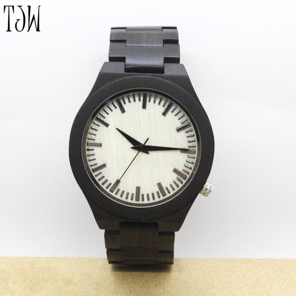 TJWNEW  Hot Simple Wooden Wrist Quartz Watch Nature Wood Bamboo Watches Men Women Novel Genuine Leather Strap Gifts simple brown bamboo full wooden adjustable band strap analog wrist watch bangle minimalist new arrival hot women men nature wood