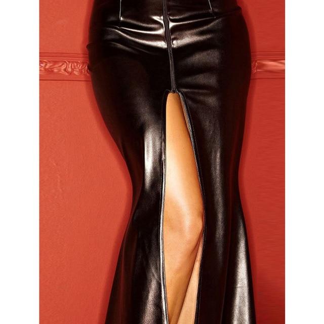 Women Clubwear Party Dress Ladies Wet Look Exotic Vinyl Leather Waist Long Dress V-Neck Long Sleeve Floor Length Maxi Dresses 5