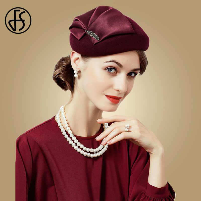 918f65a246be5 FS Ladies Blue Hats For Wedding Red 100% Wool Felt With Flower Pillbox  Fascinators Women