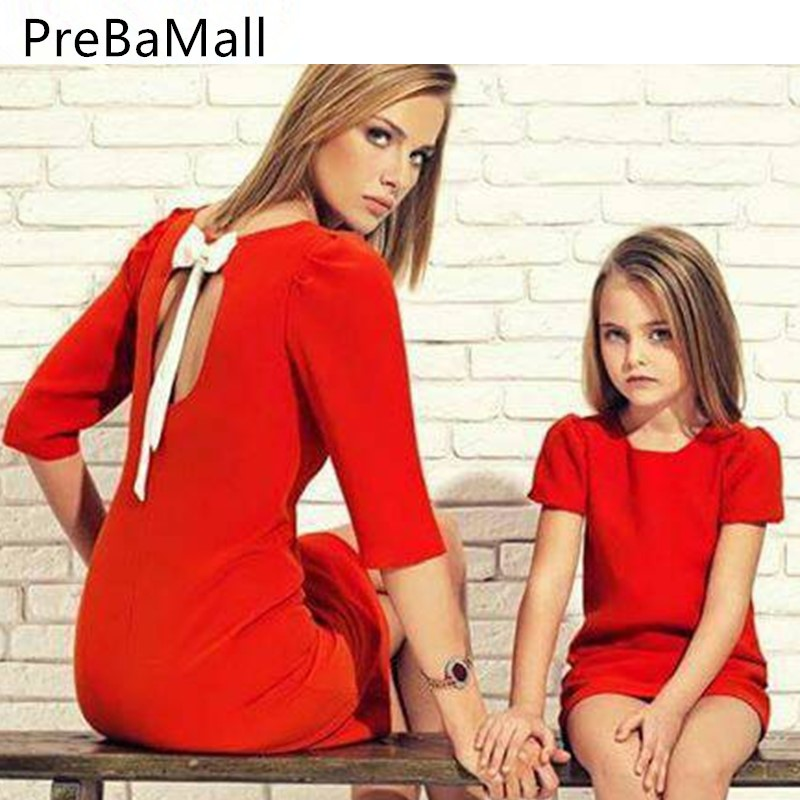 Fashion Bowknot Mother Daughter Dresses Clothes Summer Casual Dress Kids Family Matching Outfits 2019 C68