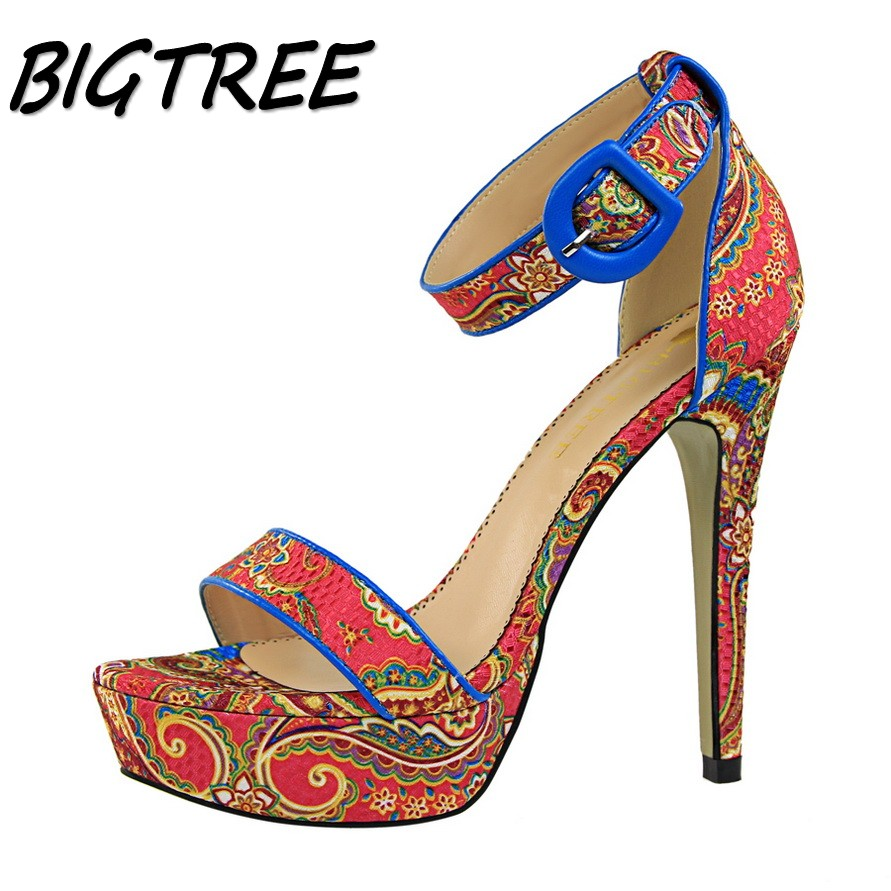 BIGTREE summer women High heel sandals woman folk-custom Print shoes Fashion ladies Buckle Strap Platform stilettos sandals xiaying smile summer new woman sandals platform women pumps buckle strap high square heel fashion casual flock lady women shoes